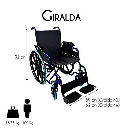 Silla de ruedas plegable | autopropulsable | reposabrazos abatibles | azul | Giralda | Mobiclinic | Asiento de 43 cm: Amazon.es: Salud y cuidado personal