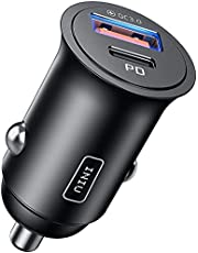 Car Charger, INIU 2-Port Total 60W QC3.0 5A PD Fast charge USB C Car Charger, All-Metal Mini [USB C+USB A] Car Adapter for iPhone 12 11 Pro XR 8 Max Mini iPad Samsung S21 S10 MacBook Airpods Pixel etc.