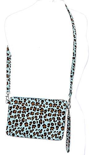(Faux Leopard Skin Animal Clutch Makeup Pouch Crossbody Shoulder Bag Women Aqua Blue)