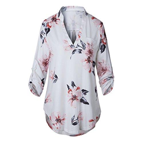 Femmes Blouse Longue Type Elgante Top 4 Manche 3 Chemisier Shinekoo V Hauts N Imprim Shirt Col RdUdx7