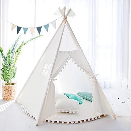 Tree Bud Kids Teepee Tent - Five Poles Indian Play Tents Toddlers Boys Girls Playhouse Pompom Lace Cotton Canvas Tipi with Carry Bag for Indoor Outdoor Play