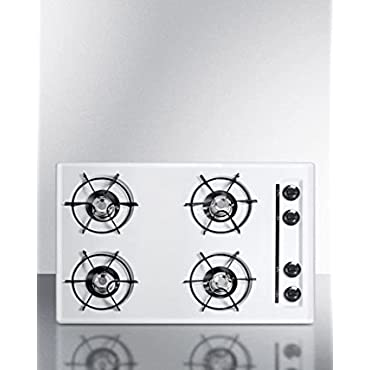Summit WNL053 30 in. Gas Cooktop in White with 4 Burners