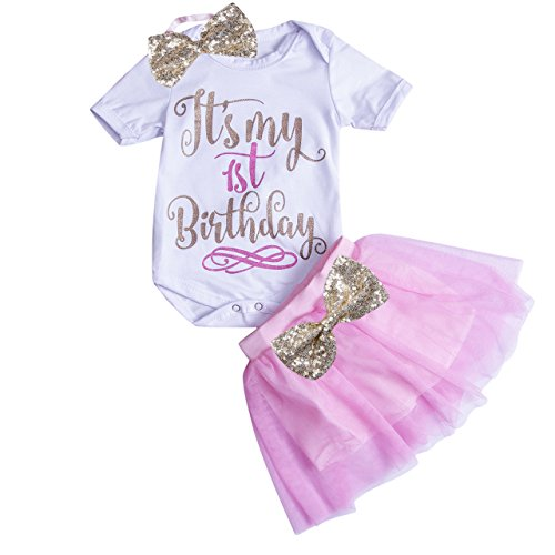 Bodysuit Birthday (Newborn Baby Girls First Birthday Romper Bodysuits + Tutu Skirt Dress Outfit Set with Headband (12-18M, Pink))