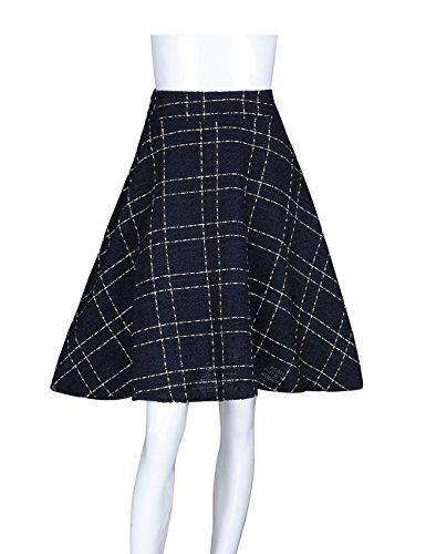 ADAMARIS Women's Wool High Waist Plaid A-Line Midi (Navy Wool Skirt)
