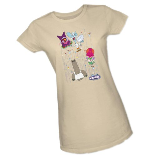 Dots Collage -- Chowder -- Cartoon Network Crop Sleeve Fitted Juniors T-Shirt, (Collage Juniors T-shirt)