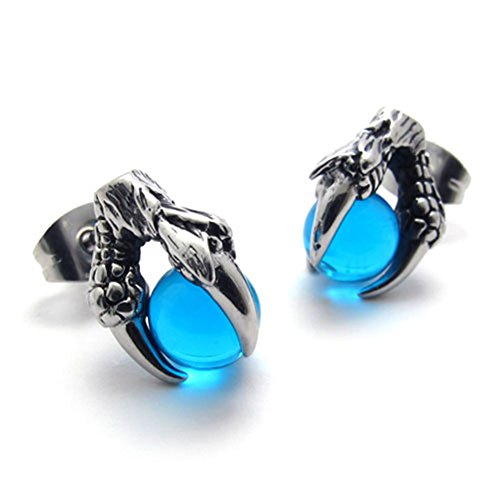 Earrings Celtic Dragon - TEMEGO Jewelry Womens Cubic Zirconia Stainless Steel Vintage Gothic Dragon Claw Stud Earrings,Blue Black Silver