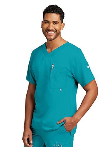 Grey's Anatomy Men's Modern Fit V-Neck Scrub Top, Teal, Medium