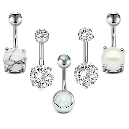 (Zolure 14G Belly Button Rings Navel Rings 316L Stainless Steel Body Piercing 5PCS Silver)