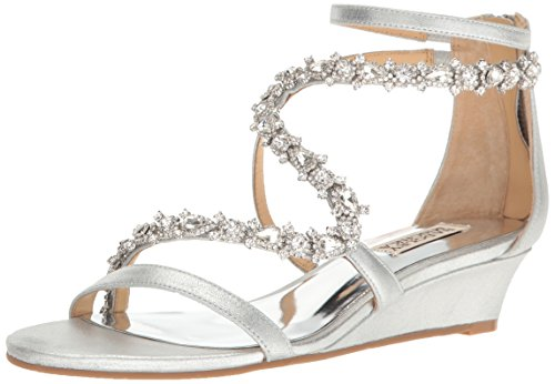 Sandal Silver Badgley Belvedere Mischka Women's Wedge qFx76wHS8