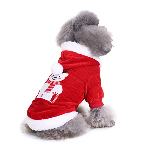 - LowProfile Super Cute Fleece Hoodie,Puppy Chirstmas Polar Bear Pattern Dog Apparel Pullover