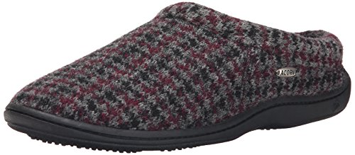 Acorn Mens Digby Gore Mule Slipper Burgundy Check