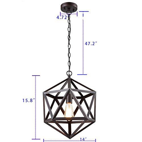 CLAXY Ecopower Industrial Geometric Pendant Lighting Metal Cage Loft Hanging Light Fixture