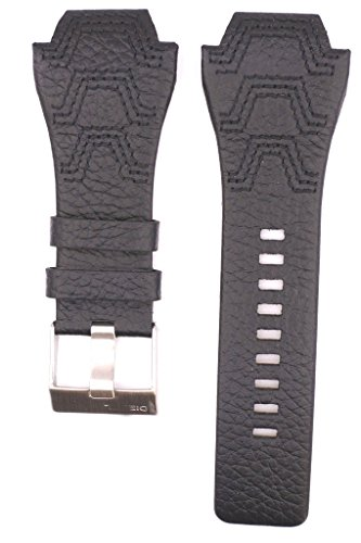 (ZTD212 Fit for Diesel DZ1266 Replacement 32mm Black Leather Watch Band Strap Free Spring BAR Tool DSL153)