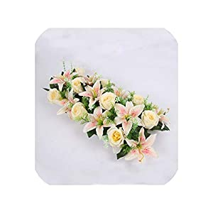 Silk Artificial Flower Row Arch Flower Wall Lily Arch high Imitation Rose DIY Wedding Road Lead Party Christmas Decor 26