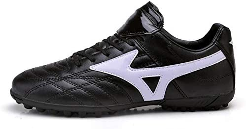 男女兼用の大人のフットボールの靴のブーツ、通気性のTFの子供のサッカーの靴のクリートの泥炭のフットボールの男の子の屋外の運動トレーナーのスニーカー,黒,37