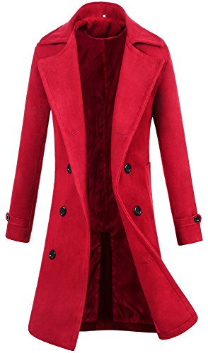 zeger Lende Men's Trench Coat Winter Long Jacket Double Breasted Overcoat (M, Wine (Long Red Trench Coat)