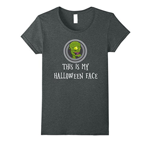 Womens This is my Halloween face t-shirt. Sarcastic zombie face tee Large Dark (Office Related Halloween Costumes)