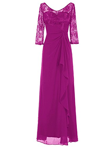 Chiffon V Back Evening Dresses Prom Gown Mother of Bride Prom Gown Fuchsia 24W