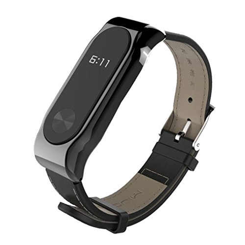 Aurorax Women and Mens Sports Smart Lightweight Leather Replacement Strap Wristband for Xiaomi Mi Band 2 (Black) ()