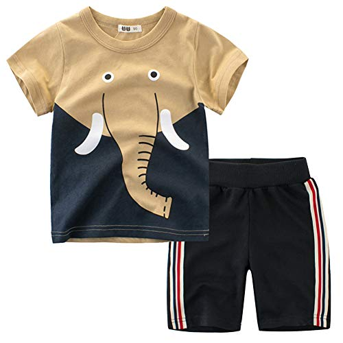 Fashion Outfit - Frogwill Toddler Boys The Little Monster Truck Tee and Shorts Set 18M-7Y (7 Long, Elephant)