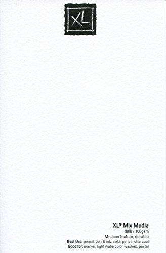 Almohadilla de papel para medios mixtos Canson de la serie XL, peso pesado, textura fina, tamaño pesado para medios húmedos y secos, con cable lateral, 98 libras, 7 x 10 pulgadas, 60 hojas - 100510926