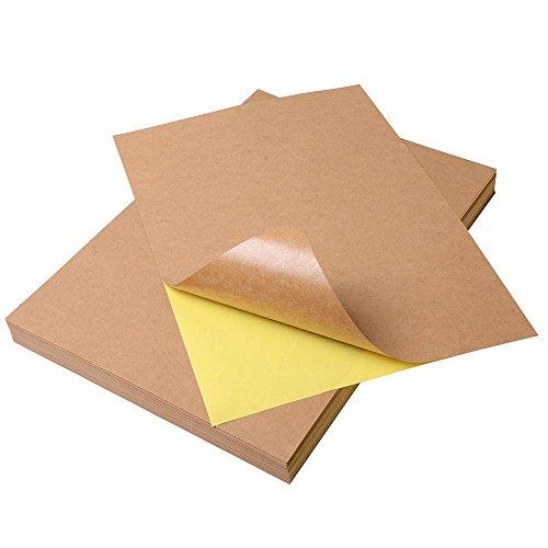 (Yescom A4 Blank Kraft Label Sticker Printable Self Adhesive Paper for Inkjet Printer Gift Decoration(Pack of 100))