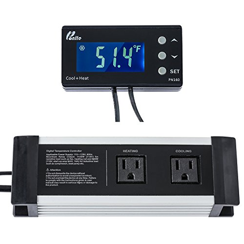 Poniie PN160 Digital Temperature Controller Thermostat Outlet for Reptile, Aquarium, Heat Mat and Brewing, 2-stage, w/Calibration and Compressor Protection
