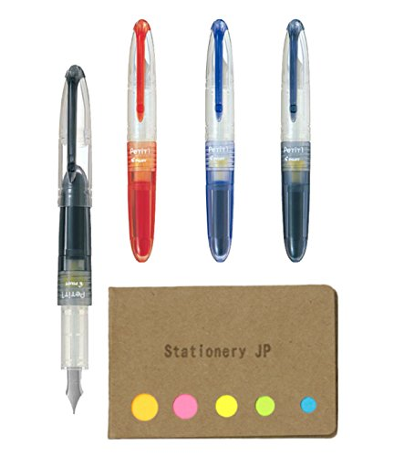 - Pilot Petit1 Mini Fountain Pen, 4 Color Ink(Black/Blue/Red/Blue Black), Fine Nib, Sticky Notes Value Set