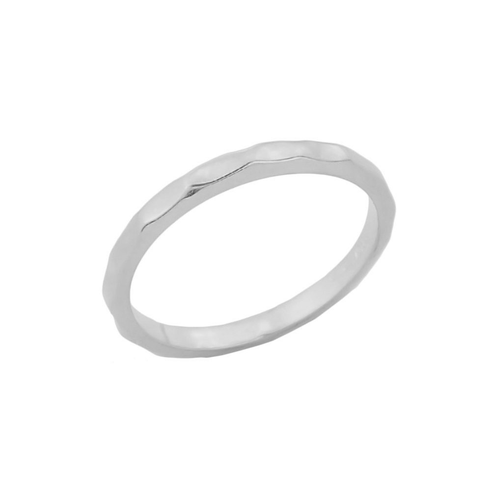 Stackable Sterling Silver Mid Finger Band Hammered Knuckle Ring, Size 6.25