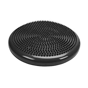 Bloodyrippa Inflated Stability Wobble Cushion, Balance Air Cushion Disc for Core Fitness Exercise, Wiggle Seat for Sensory Kids, Suitable for Office, Home, School, Pump Included (Black)