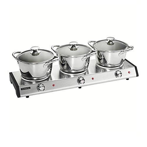 Tramontina 80154 533DS Home Appliances Triple-Hob Electric Buffet Warmer with Stainless Steel Triply Base Cookware, 7 Piece