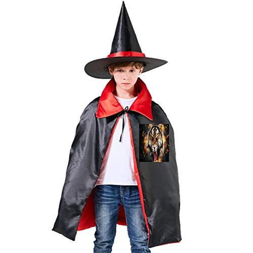 The Burning Tiger Halloween Shawl and Witch Hat for Children Kids Red -