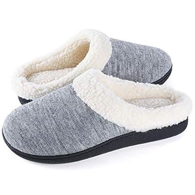 Wishcotton Women's Cozy Memory Foam Slippers Fuzzy Wool-Like Plush Fleece Lined House Shoes w/Indoor, Outdoor Nonslip Rubber Sole