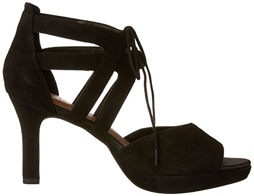 CLARKS Womens Mayra Poppy Leather Open Toe Casual Ankle Strap Sandals,Black Suede,6.5