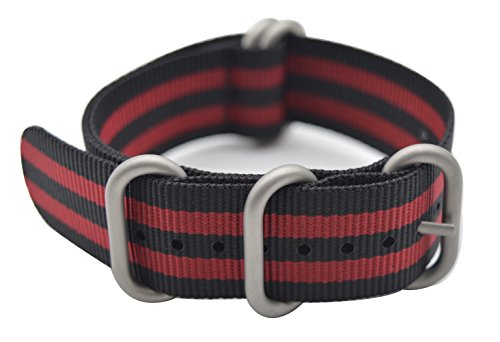 ArtStyle Watch Band with Colorful Nylon Material Strap and Heavy Duty Brushed Buckle (Black/Red, 22mm)