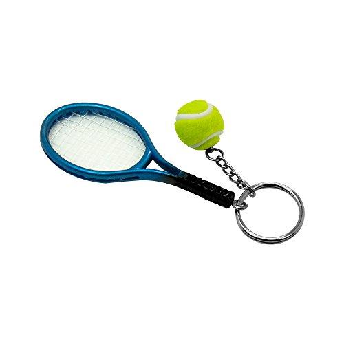 SPHTOEO Creative Alloy Sport Style Tennis Ball Keychain Tennis Racket Key Chain Key Ring 5 Color Set Photo #4