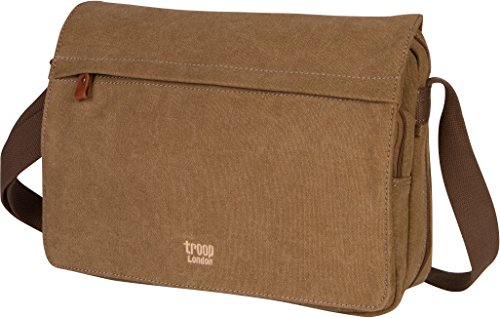 Troop London Canvas Messenger Bag For Tablets Leather Trims Size Small TRP0241 (2 - Brown) (London Troop)