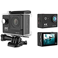M&T - 4K Ultra HD WIFI Action Camera, Underwater Waterproof Diving Camcorder, Helmet Camera with 170 Degree Wide Viewing Angle Fisheye Lens (Black)
