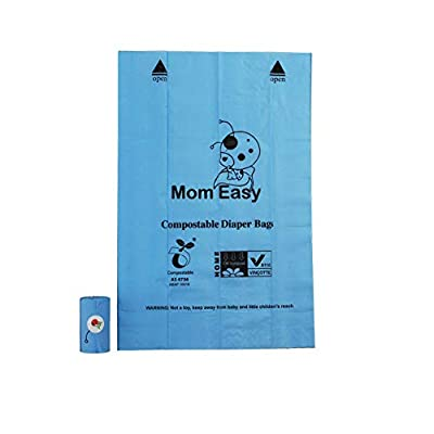 MOM EASY 120 Counts with Blue Pouch Easy-Tie Baby 100% Biodegradable Diaper Bags Compostable Diaper Sacks Blue Large Unscented