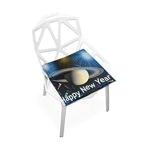 Pingshoes Seat Cushion Happy New Year - Space Chair Cushion Offices Butt Chair Pads Square Wheelchairs Mat for Indoor ()