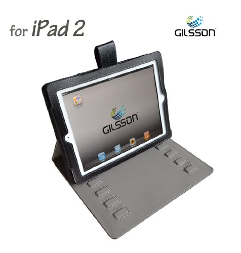 Apple iPad 2 PU Leather Multi-Angle Adjustable Stand with Carrying Case for Apple iPad 2 3G Wifi 16GB 32GB 64GB made by Gilsson (Black)