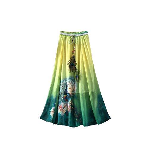 fte Maxi Skirt Paon Jupe Longue t lastique bohmien Long de Taille Femmes Plume Jaune Plage Kaxuyiiy 4wgq88