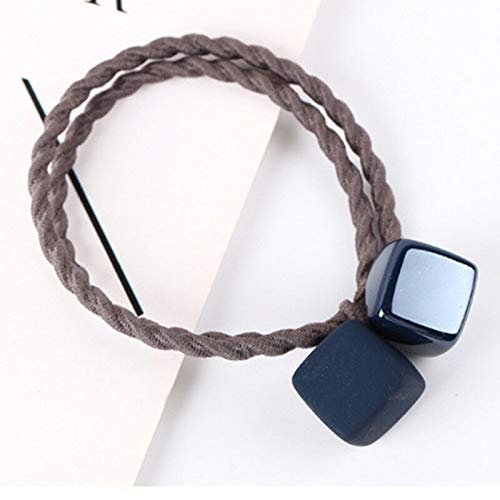MOPOLIS Creative New Style Square Head Rope E Durable Supply lastic Hair Ring Durable QP   Color - Navy Blue