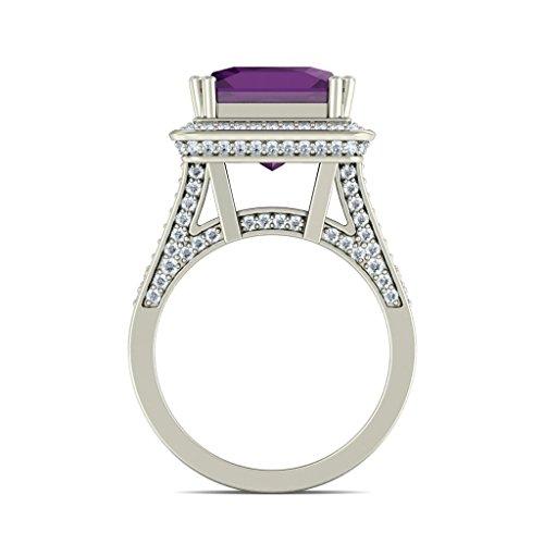 14K Or blanc, 1carat Diamant Blanc (IJ | SI) Améthyste et diamant Bague