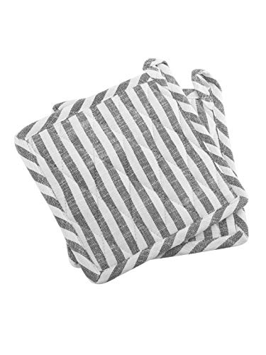"Set of 2 Pot Holders, Chambray Stripes, 100% Cotton, Eco Friendly and Safe, Heat Resistant Suitable for all House Hold Ovens, Anthracite Colour, Size 8""x8"""