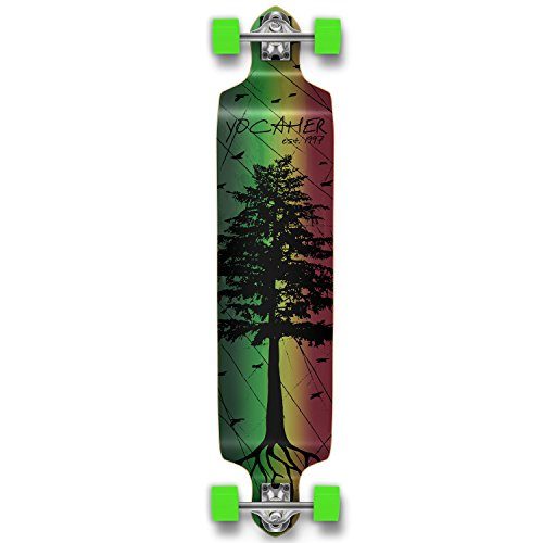 Yocaher Drop down Pro longboard complete Cruiser downhill freestyle freeride skateboard (Pines Rasta) (Center Pine Complete)