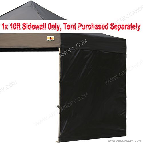 ABCCANOPY 15+colors 10' Sun Wall for 10'x 10' straight leg pop up canopy Tent, 10' Sidewall kit (1 Panel) with Truss Straps, (Black)