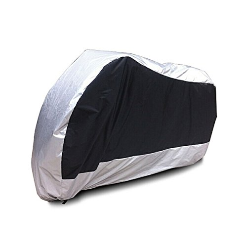 Tinksky Outdoor Motorcycle Motorbike ATV Scooter Dustproof Waterproof Sun Block Protective Cover Rain Cover Protector 265cm Long - Size XXL (Silver)