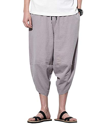 INVACHI Mens Casual Elastic Waist Linen Capri Wide Leg Baggy Harem Pants Trousers (Large, Grey 014) ()