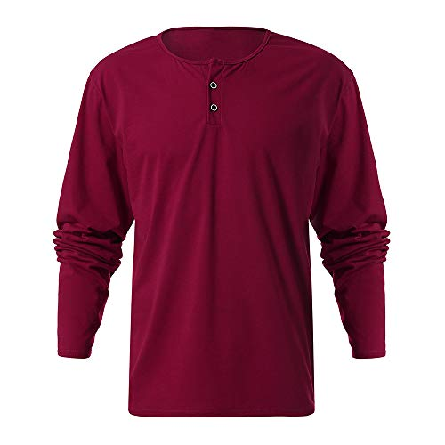 Chaofanjiancai Mens Casual Blouse Design Buttons Slim Fit Shirt Long Sleeve Solid Pullover Top (Puma Casual Cat Future)